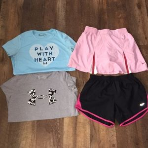 Youth large under armour and Nike lot